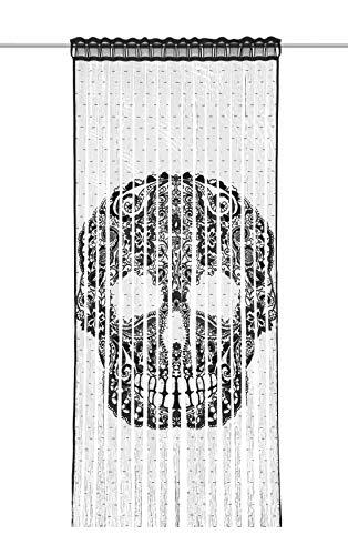 Albani Fadenvorhang Skull BxH 9x245cm | Totenkopf schwarz | mit Stangendurchzug |