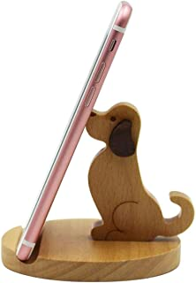 KINGSEVEN Cute Dog Cell Phone Holder Stand, Wooden Smartphone Desk Holder for iPhone Xs/Max/XR/X/8/7 Plus/Google Pixel/Sam...