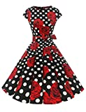 Dressystar DS1956 Women Vintage 1950s Retro Rockabilly Prom Dresses Cap-Sleeve XL Black White Rose...