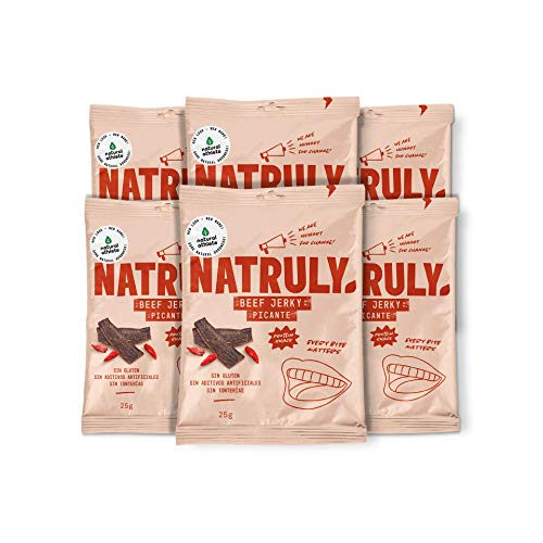 NATRULY Beef Jerky Picante, Carne Seca 100{d5992d72c3ae75ae9f87cbd7afb30397e47d6eab2f359804fdde8419a10179a6} Vacuno, Sin Gluten, Sin Lactosa, Sin Azúcar, Sin Aditivos Artificiales -Pack 6x25g (Natural Athlete antes)