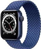 Fengyiyuda Correa Solo Loop Trenzada Compatible con Correa Apple Watch 38/40/42/44mm,Soft Sport Reemplazo Elástica de Correa Nylon Compatible con iWatch Serie 6/5/4/3/2/1/SE,Azul Atlántico,42-7