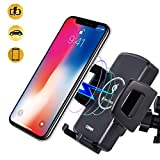 CORNMI Wireless Car Charger Mount Qi Car Charger Car Phone Mount Air Vent Phone Holder for Car Compatible for iPhone XS MAX/XR/XS/X/8/8 Plus Samsung Galaxy S9/8/7/Note 9/8 & Qi Enabled Devices – Black
