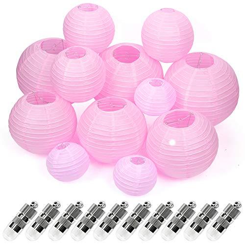 12 Stücke Papier Laterne Lampions mit 12er Mini LED Lichter, runde Lampenschirm dekorative Papierlaternen für Garten Wohnzimmer 15/20/25/30 cm (Rosa rot Lampion + Warmweiß Mini LED-Ballons Lichter)