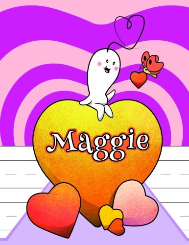 Maggie: Personalized Book with Child s Name, Primary Writing Tablet, 65 Sheets of Practice Paper, 1  Ruling, Preschool, Kindergarten, 1st Grade, 8 1 2  x 11