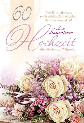Karte zur Diamantenen Hochzeit | Diamanthochzeit Karte | Hochzeitstag 60 Jahre | Karte in Folie | Karte ohne Innentext | DIN A 6 | Klappkarten inkl. Umschlag | Motiv: Rosen