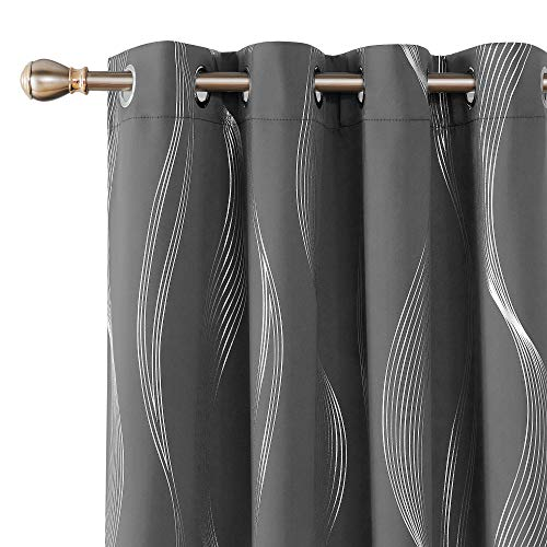Deconovo Foil Print Wave Striped Solid Blackout Curtains Room Darkening Noise Reduction Grommet Window Curtain for Bedroom 52x95 Inch Set of 2 Dark Grey