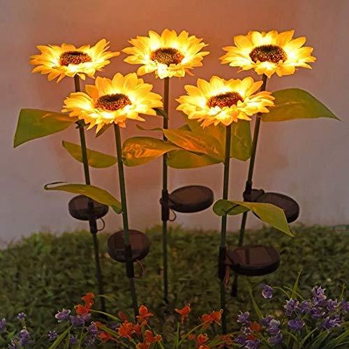 Lâmpada Solar Girassol LED, Lâmpadas Solares para Jardim Exterior, Luz de Flor de Lâmpada Impermeável para Decoração de Iluminação de Jardins