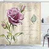 ABAKUHAUS Rose Duschvorhang, Vintage Empfindliche Artsy, Personenspezifisch Druck inkl.12 Haken Farbfest Dekorative mit Klaren Farben, 175 x 200 cm, Tan Hellrosa grün