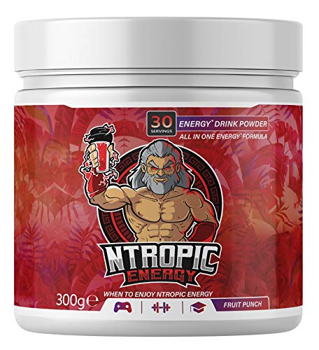 NTROPIC ENERGY - Energy Drink Powder - Energy Fuel Formula - Fruit Punch 300g (30 Servings) - Formulated for Gaming, Gym, Study – Sugar Free, Gluten Free, Suitable for Vegans