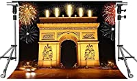 HD凱旋門の背景レトロな建物の花火の写真の背景10X7ftをテーマにしたパーティーの写真ブースYouTubeの背景LFMT352