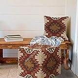 Handicraft Bazarr: Funda de cojín de lana de yute con patrón kilim, funda de cojín otomana para dormitorio, suelo, decoración de reposapiés, puf, funda de cojín de lana turca, 45 cm
