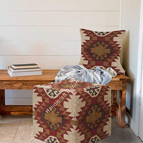 Handicraft Bazarr Funda de cojín otomana de yute para habitación de niños, almohada y reposapiés tejida a mano, funda de cojín de 45,7 cm, funda de cojín para sofá o sala de estar