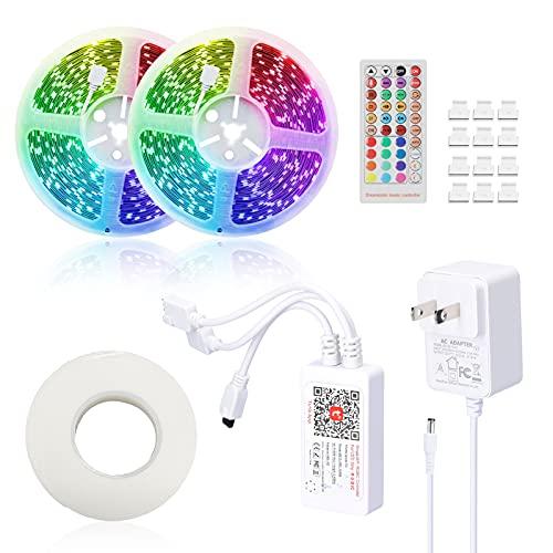 Zwbfu Tuya S mart L ife LED Strips Light Controlador wi-fi inteligente para RGB LED Strips Light Controles remotos de voz Luz colorida com tiras compatível com Amazon alexa, Google home