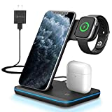 ZHIKE Wireless Charger, 3 in 1 Qi-Certified Wireless Charging Station for Apple iWatch Series 6/5/4/3/2/1, AirPods, Fast Charger Stand Compatible with iPhone SE/11 Series/XS MAX/XR/XS/8 Plus/Samsung