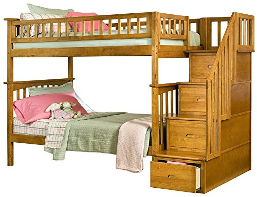 Big Sale Atlantic Furniture Columbia Staircase Bunk Bed Twin Over Twin in Caramel Latte
