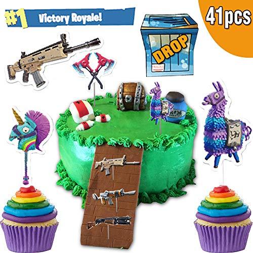 Videospiele Kuchenaufsätze, 40 Stück, Battle Royale Kuchendekoration für Kindergeburtstag, Partyzubehör für Spiel-Fans, Kuchendekorationen für Geburtstagspartys, Schulpartys, Spielabend