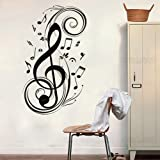 """23.6"""" X 47.2"""" Music Wall decal Music Notes Removable Vinyl Wall Sticker Mural Decal Art (Black)"""