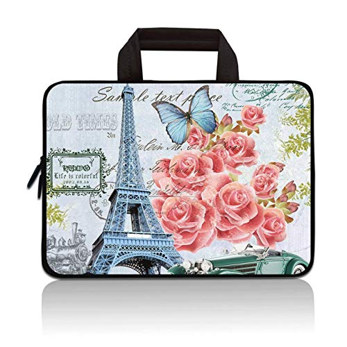 RUYIDAY 11 11.6 12 12.1 12.5 inch Laptop Carrying Bag Chromebook Case Notebook Ultrabook Bag Tablet Cover Neoprene Sleeve Fit Apple MacBook Air Samsung Acer HP DELL Lenovo Asus (Eiffel Tower)