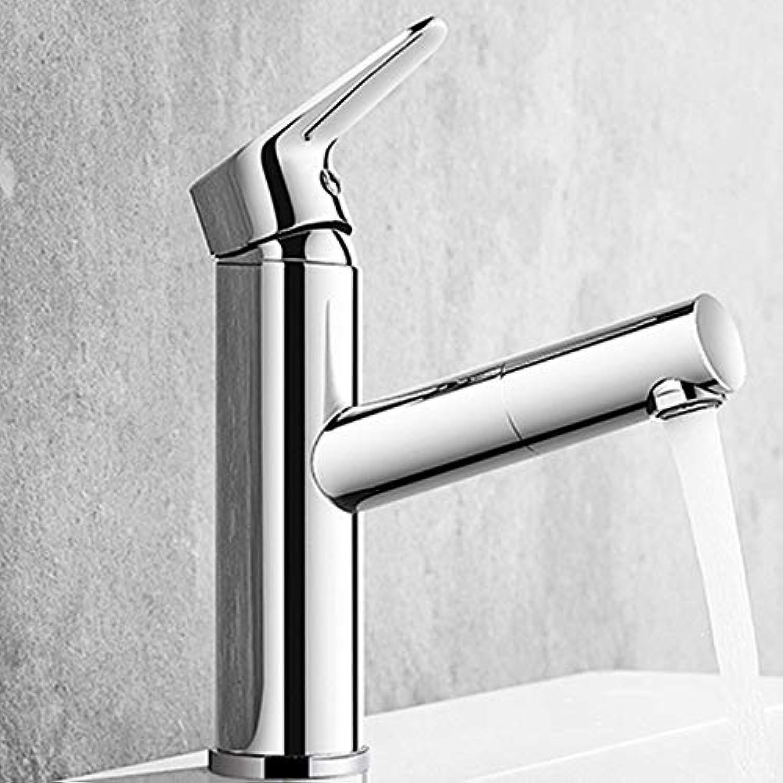 WANG LIQING Spültischarmaturen Pull-Typ Wasserhahn versenkbare Waschtischarmatur rotierenden heien und kalten Küchenarmatur Bad Waschwasserhahn
