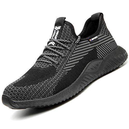 SUADEX Indestructible Steel Toe Shoes Men Work Safety Shoes for Men Women Lightweight Composite Toe Working Shoes Striped Black 8 Women/7 Men
