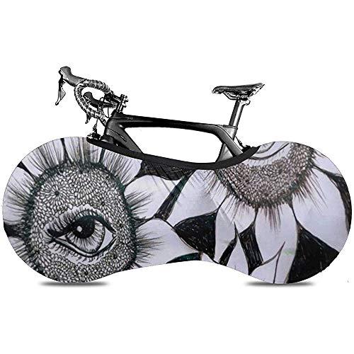 LisaArticles Housse De Roue De Vélo,Tournesols Plant Magic Eyes Couvre-Roues De Vélo Fonctionnels pour Vélos Pliants Ou Vélos De Course