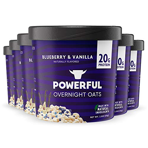 Powerful | Blueberry and Vanilla | High Protein Overnight Oats | Natural Ingredients | 20g Protein (6 Count)