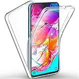 AROYI Cover Samsung Galaxy A70, Samsung Galaxy A70 Custodia Transparent Silicone TPU e PC Full Body Protettiva Premium Resistente Ai Graffi Case Cover per Samsung Galaxy A70