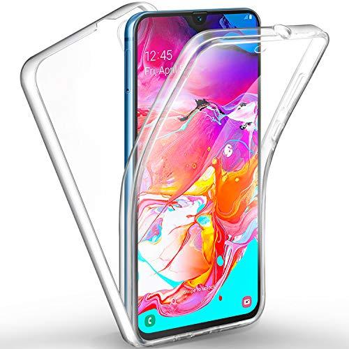 AROYI Étui en silicone avec protection à 360 degrés et étui avant en TPU souple pour Samsung Galaxy A70 (2 en 1) Clair