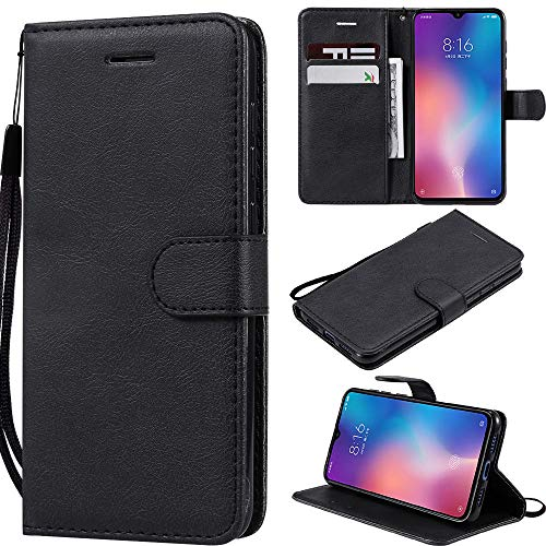 Capa para Moto Z3 Play, carteira de couro PU com suporte para cartão de crédito, capa interna de TPU (poliuretano termoplástico) macia para Motorola Z3 Play - Preta