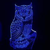 Wfmhra New Owl Animal 3D Lampara Night USB LED 7 Cambia Colore RC Natale Kids Toy Decor luminaria Lampada da Comodino per Dormire per Bambini