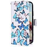 Uposao Kompatibel mit LG G8 ThinQ Handyhülle Lederhülle Bunt Retro Muster Schutzhülle Flip Case Handy Tasche Wallet Hülle Bookstyle Klapphülle Kartenfächer,Schmetterling