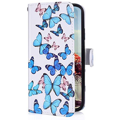 Uposao Kompatibel mit Samsung Galaxy M30 Handyhülle Lederhülle Bunt Retro Muster Schutzhülle Flip Case Handy Tasche Wallet Hülle Bookstyle Klapphülle Kartenfächer,Schmetterling