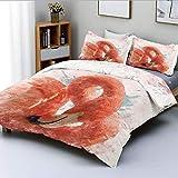 Juego de funda nórdica, pájaro flamenco con pluma de hada, efecto de pintura de acuarela, arte de la naturaleza, impresión de trabajo, juego de cama decorativo de 3 piezas con 2 fundas de almohada, na