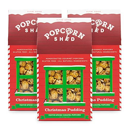 3 x capannoni per popcorn di Babbo Natale, budino natalizio aromatizzato, 3 x 80 g, regalo popcorn