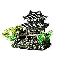 スタイリッシュな水族館の装飾 水槽水族館デコレーションクリエイティブ飾り樹脂中国風の建物造園 絶妙なオーナメント (色 : Painted, Size : 15x10x17.5cm)