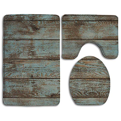 3 Piece Soft Bathroom Rugs Set Quickly Bath Shower Mat U-Shaped Lid Toilet Floor Mat - Rustic Old Barn Wood