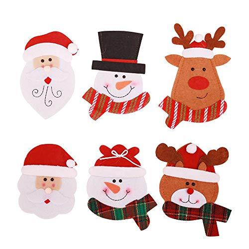 Deggodech 6 Pezzi Argenteria Tasche Posate da Cucina Natale Forchetta e Coltello Decorazione Pupazzo di Neve Renne Babbo Natale Tavolo Coltello da Natale e Borsa a Forchetta (15.4 * 9.8cm)