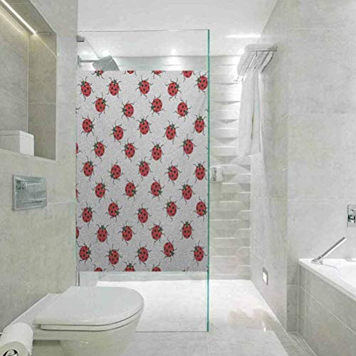 Static Cling Stained Glass Film Window, Ladybugs Ladybugs Pattern Bunch of Bugs Infinite Speckled Marked, Bathroom Office Meeting Room Living Room Window Membrane, 23.6'x35.4'