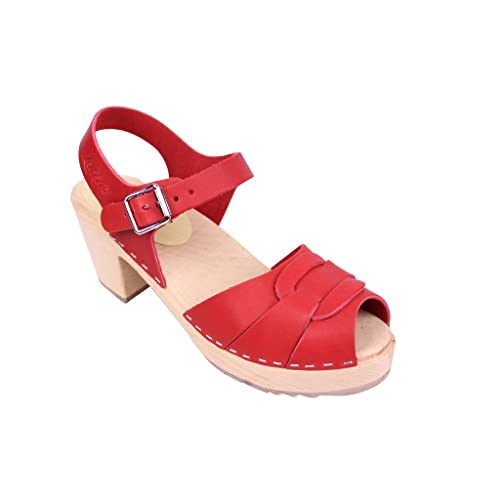840bf644851 Lotta From Stockholm Swedish Clogs   Peep Toe Clogs In Red Leather