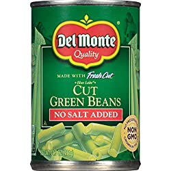 Del Monte Canned Fresh Cut Blue Lake No Salt Added Cut Green Beans, 14.5-Ounce