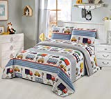 Better Home Style Blue Cars Trucks Buses Taxis Vehicles City Streets Themed Kids / Boys / Toddler Coverlet Bedspread Quilt Set with Sham # Transportation (Twin)
