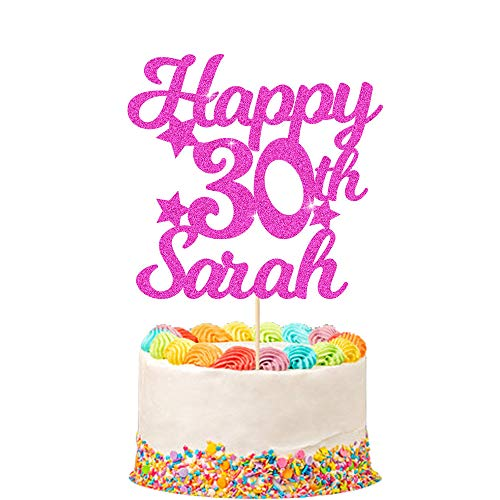 Personalised Happy Birthday Cake Topper | Customized with Any Name and Age Party Cake Decoration 16 18 21 40 60 | Double Sided Glitter Card | Pink