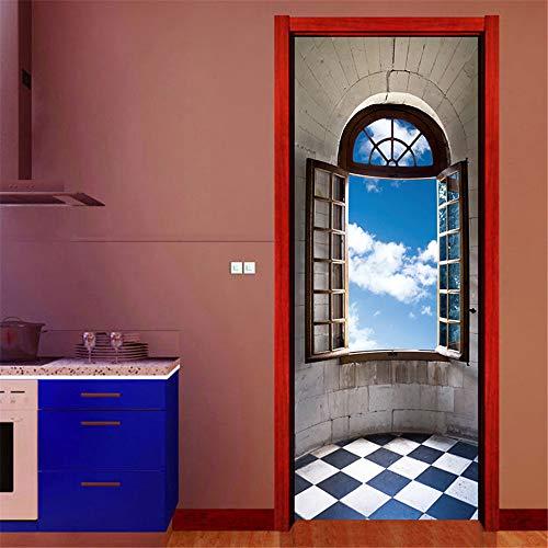 PMZZPLVDS 3D Deur Sticker Vensterbank Muurschildering Zelfklevende Pvc Waterdichte Verwijderbare Poster Behang Huisdecoratie