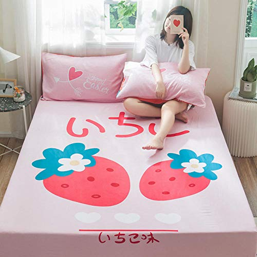 lhmlyl Mattress Coverchildren'S Bed Lisa Single Piece 1.2M1.5 Cartoon 1.8M Bed Cotton Group Bed Cover Mattress Cover-Good Morning_150X200【Add A Pair Of Same Color Pillowcases】