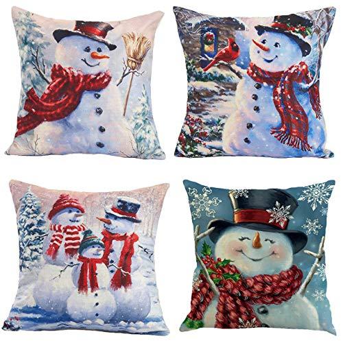 Neusky 4er Set Dekorativ Kissenbezug Geometrische Muster 45 x 45cm Sofa Büro Dekor Kissenhülle aus Baumwoll und Leinen (Weihnachten-Schneemann)