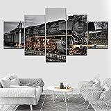 45Tdfc 5 Panel Pared Arte Pintura Coche de Tren Retro Blanco y Negro Fotos Prints en Lienzo la Imagen Decor Aceite para decoración de hogar Moderno
