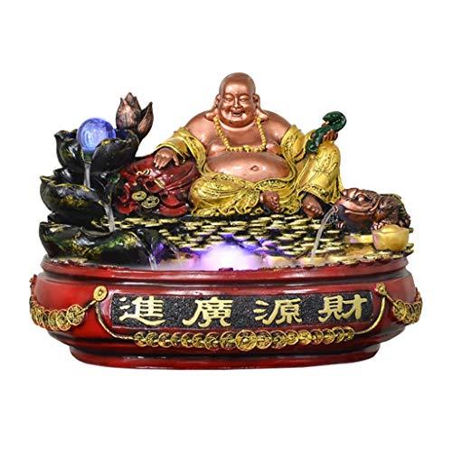 Fuente De Escritorio Zen fuente tablero Resina estatua de Buda y en cascada monedas de oro decorar la fuente, que simboliza un flujo constante de riqueza y buena suerte, perfecto regalo de la