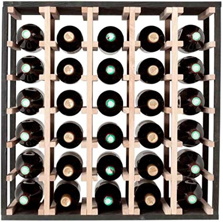 alta calidad y envío rápido SQUARE WINE RACKS Fabia - Botellero de Madera (30 (30 (30 Botellas), Diseño Cuadrado, Color Roble y Negro  salida de fábrica