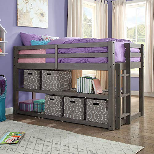 Better Homes and Gardens Loft Storage Bed with Spacious Storage Shelves (Twin, Slate) (Twin, Slate)