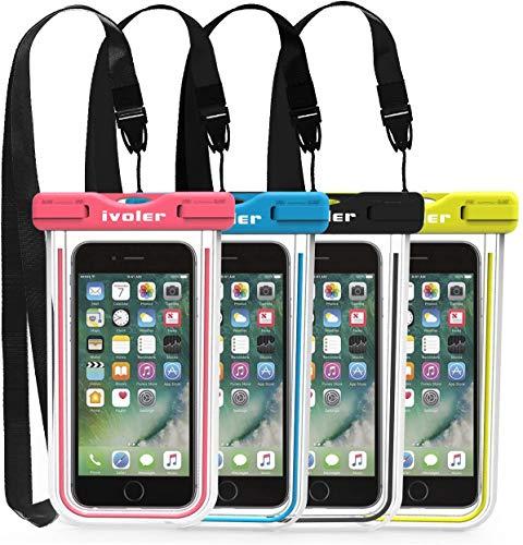 iVoler [4 Pezzi] Custodia Impermeabile Smartphone, IPX8 Universale Borsa Impermeabile Sacchetto Impermeabile Cellulare Dry Bag Waterproof per iPhone, Samsung, Huawei, ECC. (Nero+Blu+Verde+Rosa)